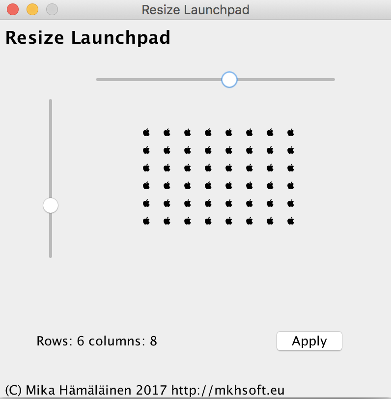 Launchpad Resizer main window